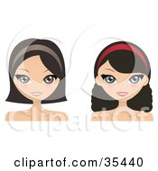 Clipart Illustration Of Two Brunette Caucasian Women One With Curly Hair Wearing Headbands And Smiling by Melisende Vector