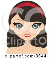Clipart Illustration Of A Pretty Brunette Caucasian Woman With Wavy Hair Wearing A Red Headband And Smiling by Melisende Vector
