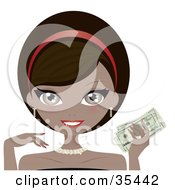 Clipart Illustration Of A Beautiful Wealthy African American Woman In Stunning Jewelery Holding Cash In Her Hand by Melisende Vector #COLLC35442-0068