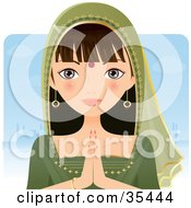 Clipart Illustration Of A Beautiful Indian Woman In A Green Sari Holding Her Hands Together by Melisende Vector