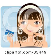 Clipart Illustration Of A Young Caucasian Woman Holding Up A Credit Card While Shopping In The City by Melisende Vector