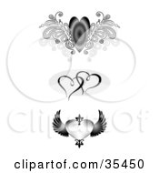 Set Of Winged And Entwined Hearts