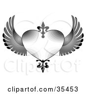 Clipart Illustration Of A Shaded Heart With Black Accents And Wings