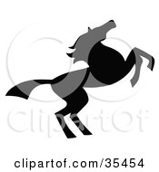 Clipart Illustration Of A Black Silhouetted South Western Styled Horse Running Right by C Charley-Franzwa