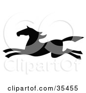 Clipart Illustration Of A Black Silhouetted South Western Styled Horse Running Left