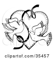 Clipart Illustration Of Two Flying Doves With A Ribbon Over A Heart by C Charley-Franzwa #COLLC35457-0078