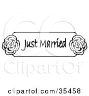 Clipart Illustration Of Black And White Just Married Sign With Roses On The Sides by C Charley-Franzwa