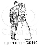 Clipart Illustration Of A Happy Bride And Groom Posing For Portraits After The Wedding Ceremony by C Charley-Franzwa