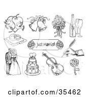 Clipart Illustration Of A Set Of Doves Wedding Bells A Bridal Bouquet Champagne Ring Pillow Just Married Sign Hand Signing Bride And Groom Wedding Cake Violin And Rose Icons by C Charley-Franzwa