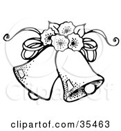 Clipart Illustration Of Two Wedding Bells With Flowers