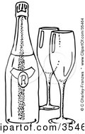 Clipart Illustration Of Two Empty Wine Glasses By A Bottle Of Wine