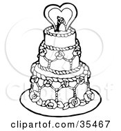 Black And White Tiered Wedding Cake With A Bride And Groom Topper Under A Heart