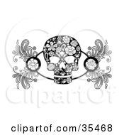 Black And White Skull Design Element With Roses And Flower Designs