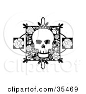 White Skull On A Floral Square With Two Rose Accents
