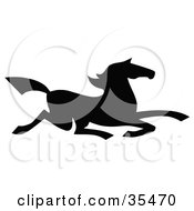 Clipart Illustration Of A Black Silhouetted South Western Styled Horse Running Right