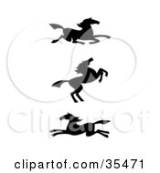 Clipart Illustration Of A Set Of Three Black Silhouetted Southwestern Styled Horses by C Charley-Franzwa #COLLC35471-0078