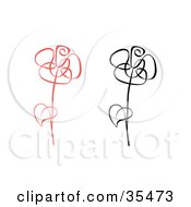 Clipart Illustration Of Red And Black Roses With Single Leaves On Their Stems