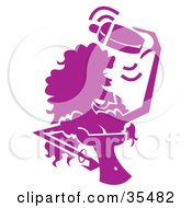 Clipart Illustration Of A Busty Female Bartender Mixing Drinks And Having A Blast Silhouetted In Purple by Andy Nortnik