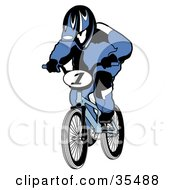 Clipart Illustration Of A BMX Biker In A Blue Uniform And Helmet Racing His Bike by Andy Nortnik