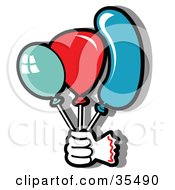Clipart Illustration Of A Clowns Hand Holding Green Blue And Red Party Balloons by Andy Nortnik