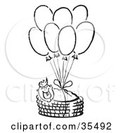 Happy Baby In A Basket Floating Through The Sky And Tied To Balloons