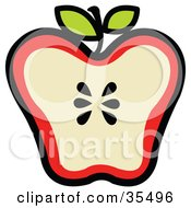 Clipart Illustration Of A Halved Red Apple With Seeds In The Center And Two Leaves On The Stem
