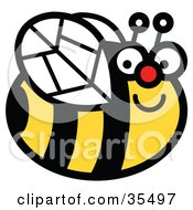 Clipart Illustration Of A Happy Chubby Honey Bee Smiling And Flying By