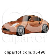 Orange Nissan 350Z Sports Car With Ghost Flame Decals And Tinted Windows