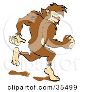Clipart Illustration Of A Sasquatch Running Away Looking Back Over His Shoulder by Andy Nortnik