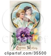 Two Young Victorian Angels Singing And Playing Easter Music With A Violin In A Circle With Pansies