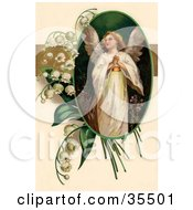Clipart Illustration Of A Beautiful Victorian Easter Angel Looking Upwards In An Oval Adorned By Lily Of The Valey Flowers