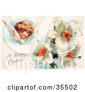 Victorian Cherub Angel Flying Near White Easter Lily Flowers
