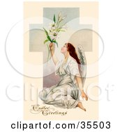 Clipart Illustration Of A Beautiful Victorian Angel Sitting On The Ground And Holding Up Easter Lilies In Front Of A Cross
