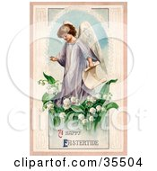 Clipart Illustration Of A Young Victorian Easter Angel Carrying A Scroll And Walking In Lily Of The Valley Flowers by OldPixels