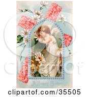 Clipart Illustration Of An Adorable Young Victorian Easter Angel Smelling Spring Flowers In A Window Over A Pink Floral Cross With Poets Daffodils