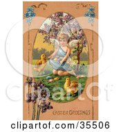 Clipart Illustration Of A Little Victorian Angel Surrounded By Chicks Kneeling And Gathering Easter Eggs In Her Gown by OldPixels