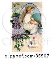 Clipart Illustration Of A Victorian Easter Cherub Angel Seated In A Circle With Purple Passion Flowers