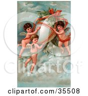 Clipart Illustration Of Three Victorian Cherubs Transporting A Giant Easter Egg With Flowers In The Sky