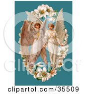Clipart Illustration Of Two Victorian Angels In The Center Of An Easter Lily Garland Over A Blue Background