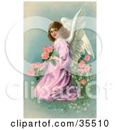 Pretty Victorian Angel In A Purple Gown Kneeling And Picking Pink Flowers On Easter
