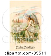 Clipart Illustration Of A Pretty Blond Haired Female Victorian Easte Angel Kneeling And Feeding A Lamb by OldPixels