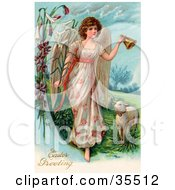 Clipart Illustration Of A Beautiful Victorian Easter Angel Ringing A Bell And Leading Sheep by OldPixels