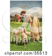 Beautiful Victorian Woman Smiling While Feeding Three Hungry Lambs In A Meadow On Easter