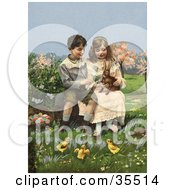 Victorian Boy And Girl Sitting On A Log And Playing With A Rabbit While Chicks Watch A Basket Of Easter Eggs At Their Side