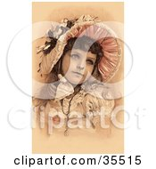 Clipart Illustration Of A Beautiful Little Victorian Girl Dressed In Her Easter Dress And Bonnet Looking To The Right by OldPixels