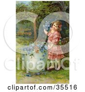 Clipart Illustration Of A Pretty Little Victorian Girl Filling A Giant Broken Easter Egg With Forget Me Not Flowers by OldPixels