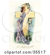 Clipart Illustration Of A Stunning Victorian Woman In A Purple Gown Placing A Garland Of Easter Lilies Over A Cross by OldPixels
