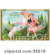 Little Blond Victorian Girl Bending Down To Give A White Bunny An Easter Egg
