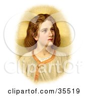 Clipart Illustration Of A Victorian Portraint Of The Christ Child Looking To The Right