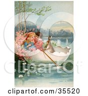 Clipart Illustration of a Victorian Boy And Girl Floating In An Egg Shell Boat With A Rabbit On Easter by OldPixels #COLLC35520-0072